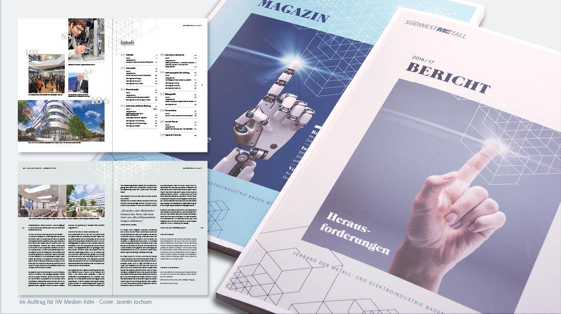 Grafikdesign Geschäftsbericht mit Cover und Inhaltsverzeichnis