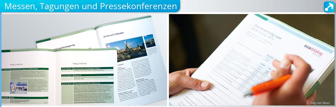 Beispiele für das Corporate Design für Tagungen, Messen und Pressekonferenzen