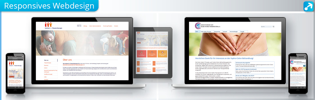 Screens vom Laptop, Smartphone und Tablet mit responsiven Webdesign