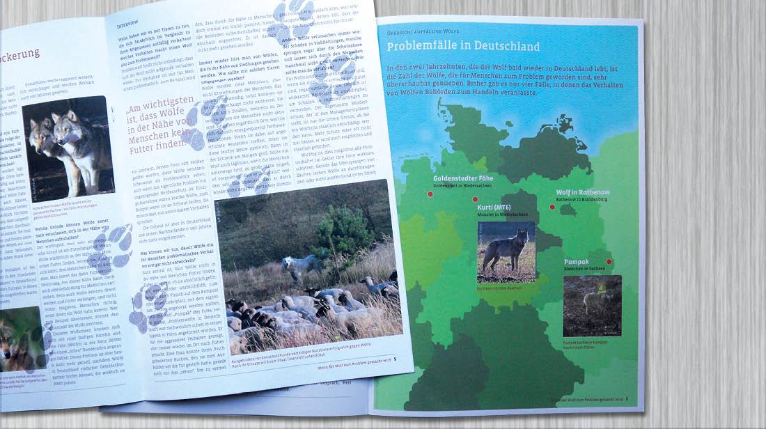 Karte und Innenseite vom Informationsfolder über die Rückkehr der Wölfe nach Deutschland