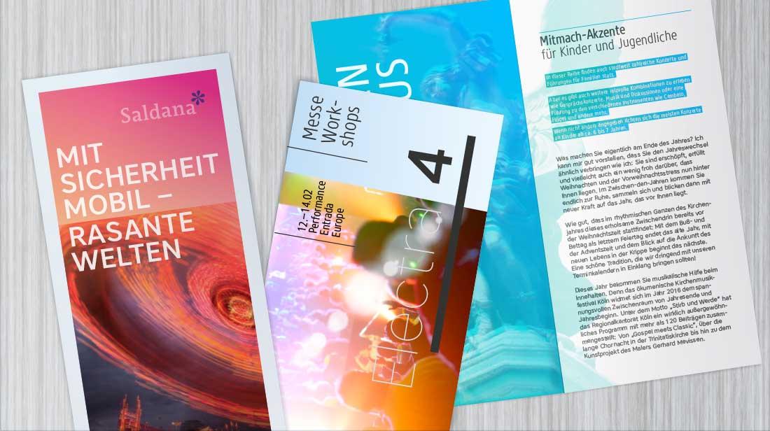 Individuelles Grafikdesign für Flyer und Folder mit Cover und Innenseiten