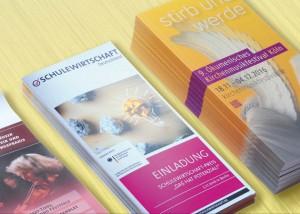 Professionell gestaltete Flyer und Folder für kunden aus dem Bereich Jugendbildung und Kultur