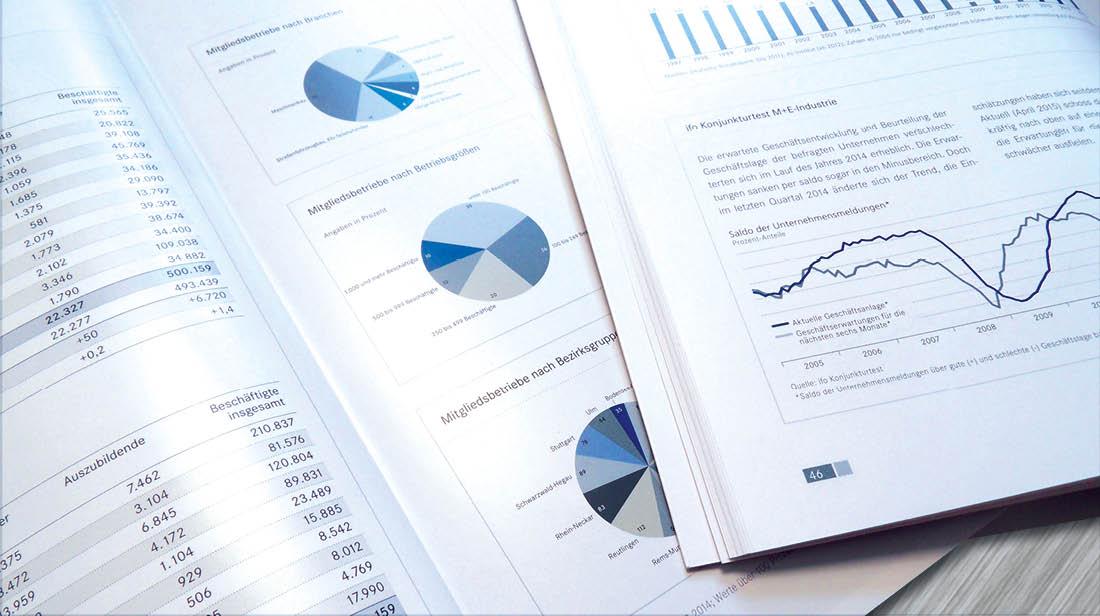 Grafikdesign Geschäftsbericht mit Infografiken im Zahlenteil