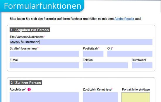 Formularfunktionen interaktiver PDF