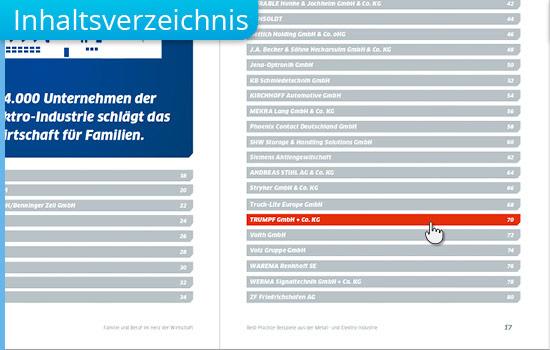 Inhaltsverzeichnis bei interaktiver PDF