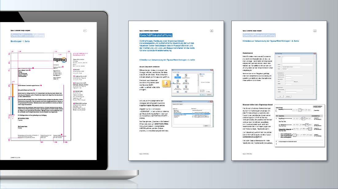 Vermaßung und Dialogfenster von Briefbögen erstellt mit Word-Dokumentenvorlagen