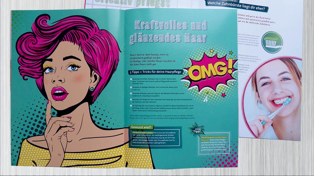 Godentis Magazin Mädchen zum Thema Haar und Zahnpflege