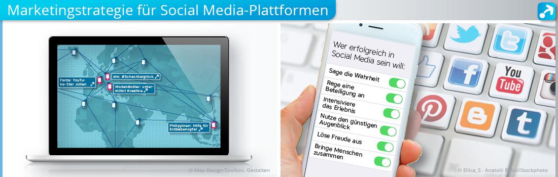 Abbildung vom Laptop und Smartphone, die für eine Marketingstrategie für Social Media-Plattformen stehen