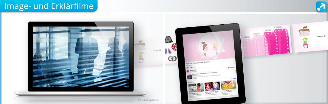 Abbildung mit Laptop und Tablet die Imagefilm und Erklärvideo zeigen