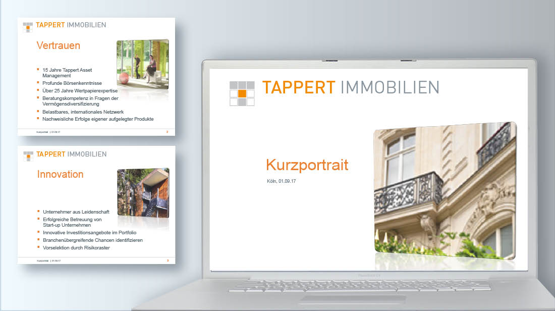 Erstellung und Grafikdesign von PowerPoint Präsentationen für Immobolien-Unternehmen