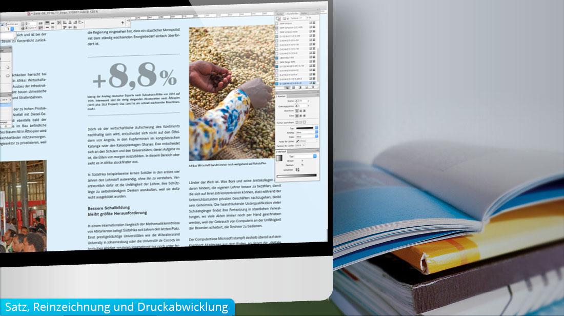 Satz, Reinzeichnung und Druckabwicklung im Grafikdesign