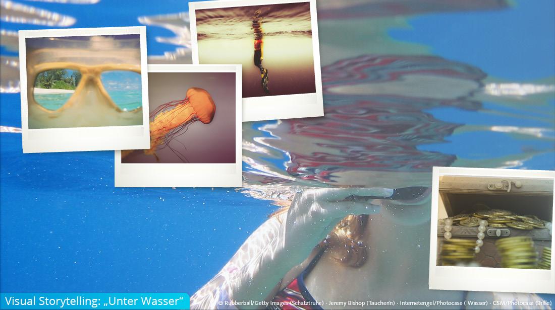 """Bildkonzept mit dem Thema """"Unter Wasser"""" und in Polaorid eingefügten Bildern"""
