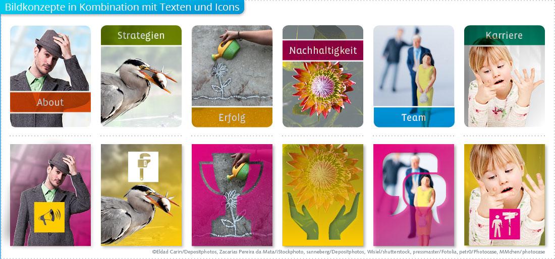Bildkonzepte mit Text, Icons und verschiedenen Farben