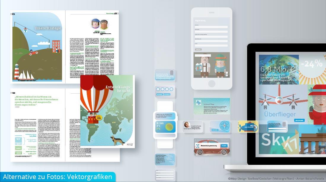 Bildkonzepte mit Vektorgrafiken in verschiedenen Devices und in einer Broschüre