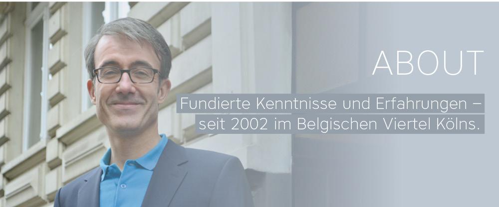 About über Matthias Hugo vor dem Grafikdesign-Büro in der Brüsseler Straße 86 in 50672 Köln