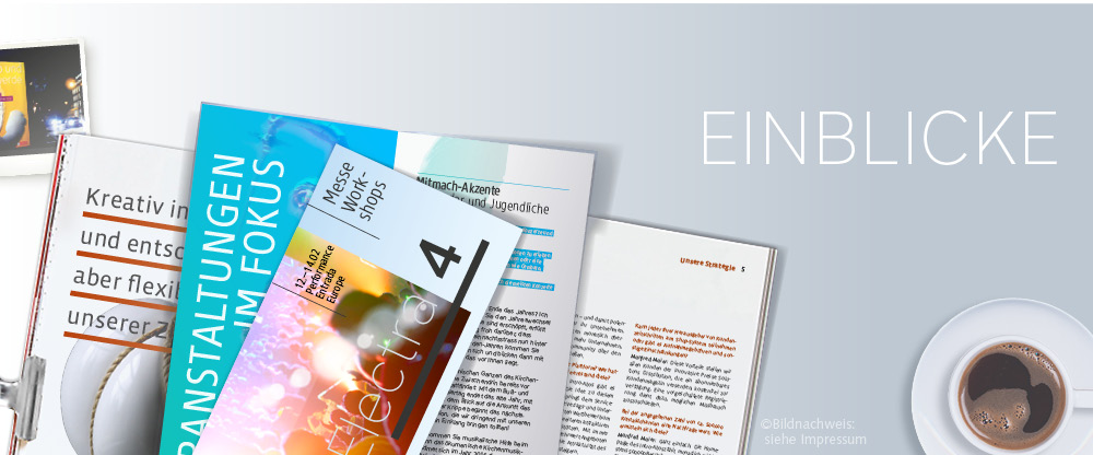 Einblicke in Drucksachen wie Broschüren und Flyer sowie Online Medien