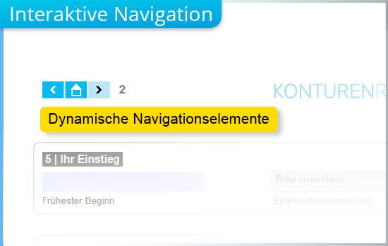 Mit anklickbaren Navigationselementen wird die Funktionalität des Formular-PDFs erhöht