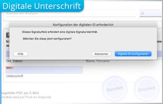 Verfahren, mit dem User PDF-Formulare digital unterschreiben können