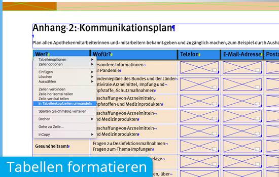 Tabellen formatieren