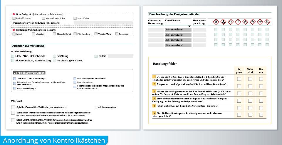 PDF Formular Anordnung Kontrollkästchen