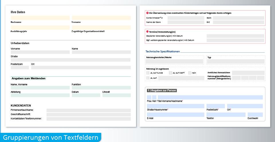 PDF Formular Gruppierung Textfelder