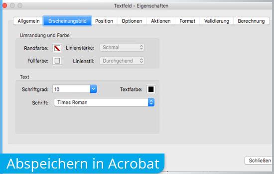 Formular Abspeichern in Acrobat