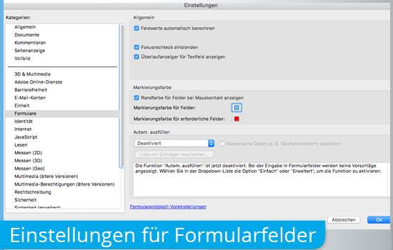 Einstellungen in Adobe Acrobat für interaktive Formular-PDF
