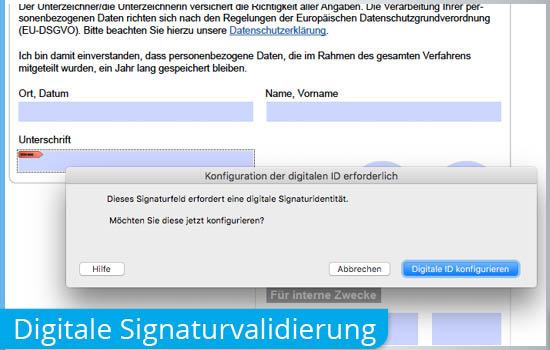 Validieren bzw. unterschreiben mit digitaler Signatur
